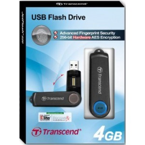 USB 2.0 Flash Drive Fingerprint 4GB, Transcend JetFlash 220